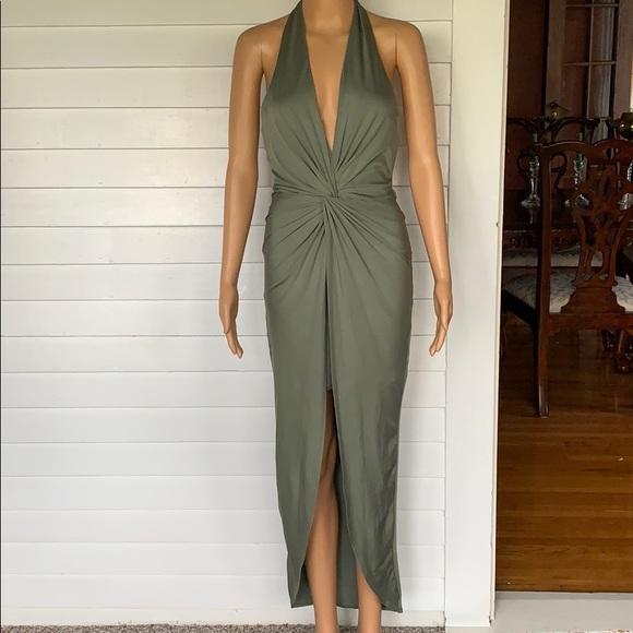 High low halter slit dress